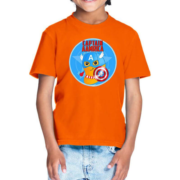T-SHIRTS 1 / ORANGE Captain Aamrica T-Shirt For Kids FRYING PUN