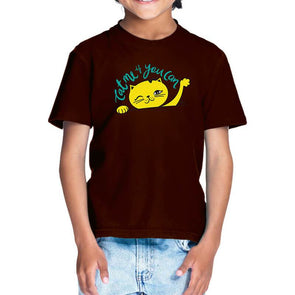 T-SHIRTS 1 / COFFEE BROWN Cat Me If You Can T-Shirt For Kids FRYING PUN
