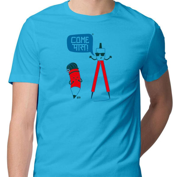 T-SHIRTS S / SKY BLUE Come Pass T-Shirt For Men FRYING PUN