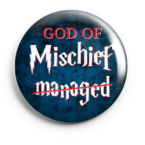 BUTTON BADGES PATTERNED God Of Mischief Button Badge