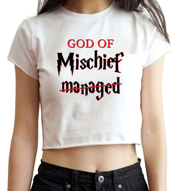 CROP TOPS S / WHITE God Of Mischief Crop Top For Women