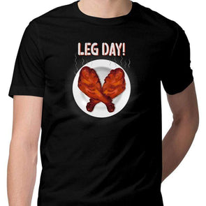 T-SHIRTS S / BLACK Leg Day T-Shirt For Men FRYING PUN