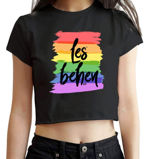CROP TOPS S / BLACK Les Behen Crop Top FRYING PUN