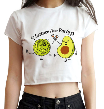 CROP TOPS S / WHITE Lettuce Avo Party Crop Top For Women