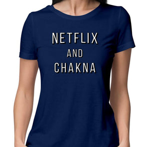 T-SHIRTS XS / NAVY BLUE Netflix And Chakna T-Shirt For Women FRYING PUN