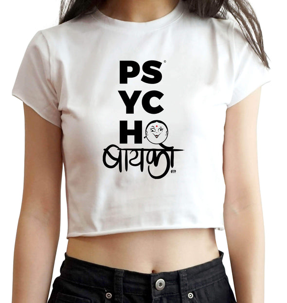 CROP TOPS S / WHITE Psycho Baiko Crop Top For Women