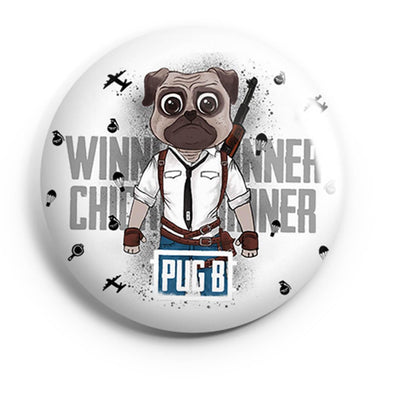 BUTTON BADGES PATTERNED Pug B Button Badge
