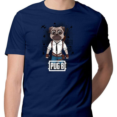 T-SHIRTS S / NAVY BLUE Pug B T-Shirt For Men FRYING PUN