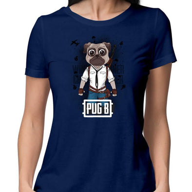 T-SHIRTS XS / NAVY BLUE Pug B T-Shirt For Women FRYING PUN