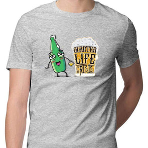 T-SHIRTS S / MELANGE GREY Quarter Life Crisis T-Shirt For Men FRYING PUN