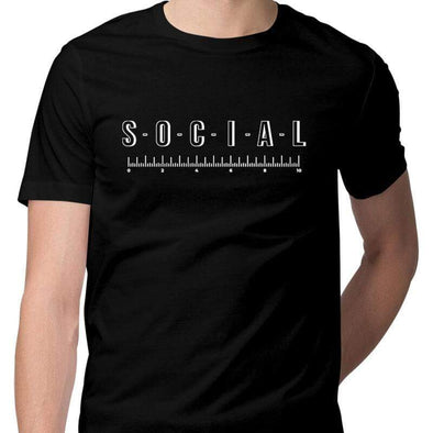 T-SHIRTS S / BLACK Social Distancing T-Shirt For Men FRYING PUN