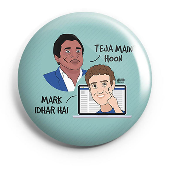 BUTTON BADGES PATTERNED Teja Main Hoon, Mark Idhar Hai Button Badge