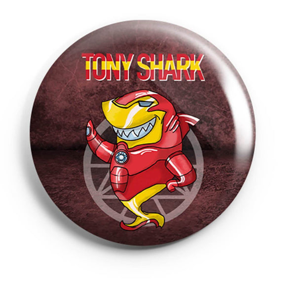 BUTTON BADGES PATTERNED Tony Shark Button Badge