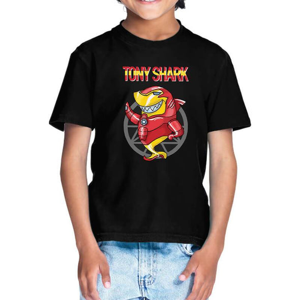 T-SHIRTS 1 / BLACK Tony Shark T-Shirt For Kids FRYING PUN