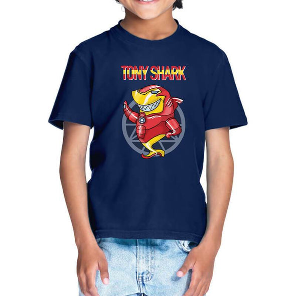 T-SHIRTS 1 / NAVY BLUE Tony Shark T-Shirt For Kids FRYING PUN