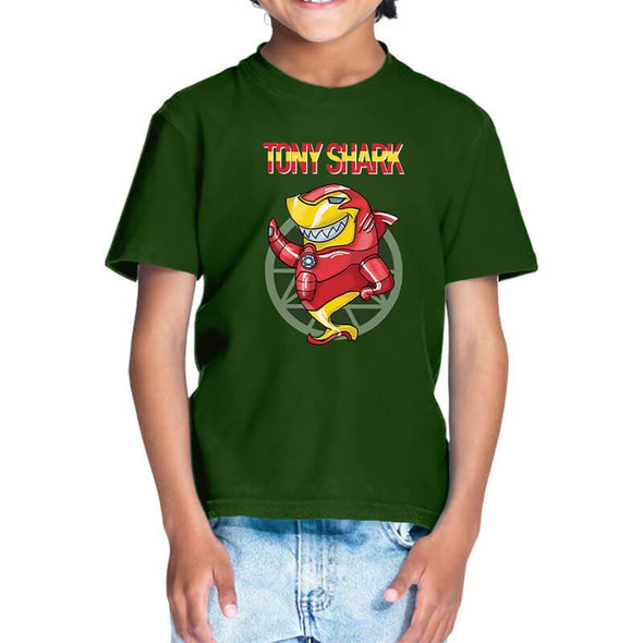 T-SHIRTS 1 / OLIVE GREEN Tony Shark T-Shirt For Kids FRYING PUN