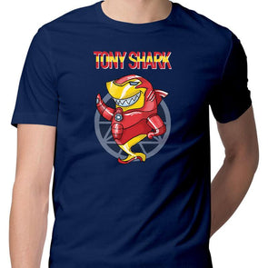 T-SHIRTS S / NAVY BLUE Tony Shark T-Shirt For Men FRYING PUN