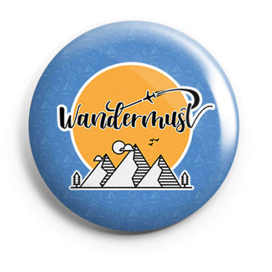 BUTTON BADGES PATTERNED Wandermust Button Badge FRYING PUN