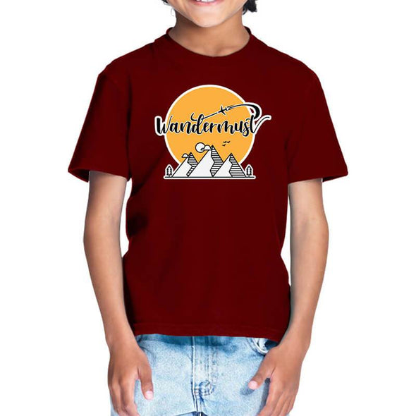 T-SHIRTS 1 / MAROON Wandermust T-Shirt For Kids FRYING PUN