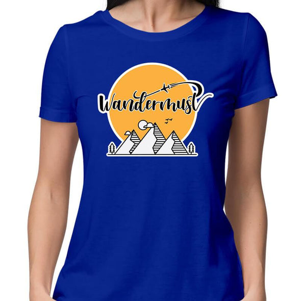 T-SHIRTS XS / ROYAL BLUE Wandermust T-Shirt For Women FRYING PUN