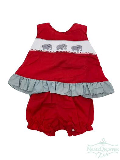 Magnolia Steel Bow Back Smocked Elephant Set