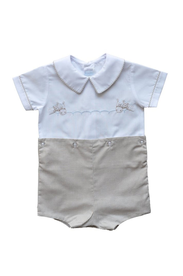 Auraluz Boy Suit White Shirt W/Tan Check Shorts and Piping  Horse Shadow Embroidery 5210