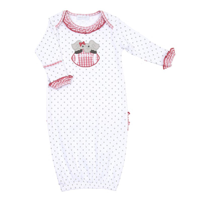 Magnolia Baby Elephant Football Applique Ruffle Lap Gown 886A-365