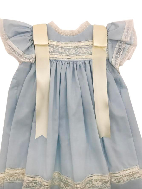 Treasured Memories Blue Angel Sleeve Dress w/ Ecru Lace & Ribbon Insert/Shoulder Ribbons S1823BL BL/EC