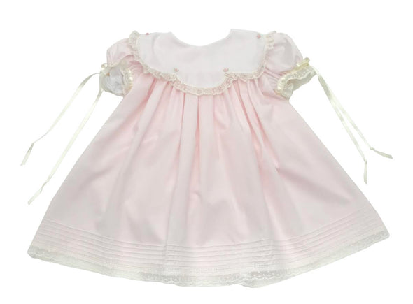 Treasured Memories Pink Scalloped Collar Dress w/ Pink Rosettes & Ecru Lace/Ribbon 1902 PK/EC