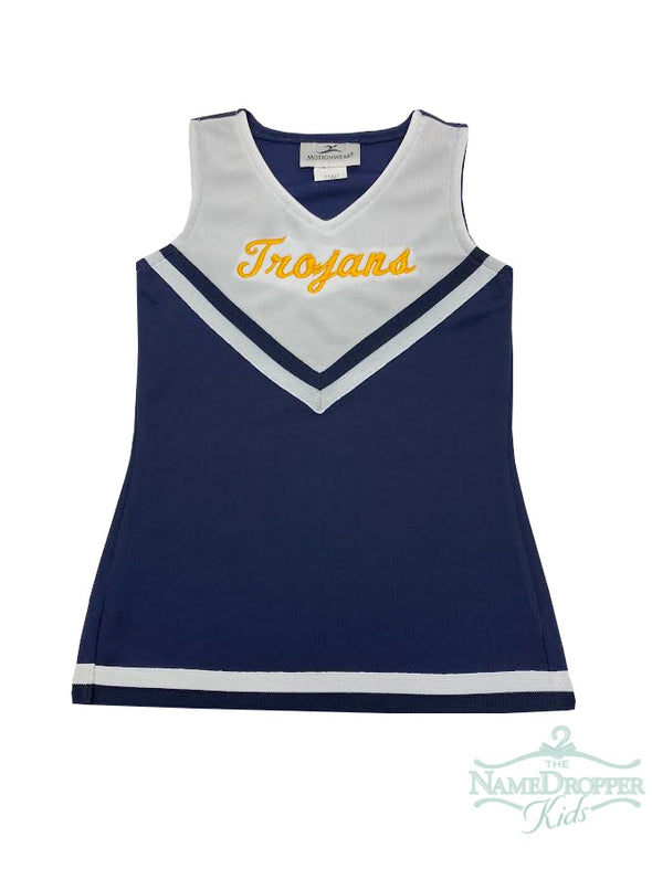 Motion Wear Navy Cheer Dress W/Trojans 9302