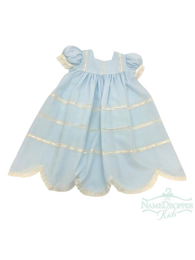 Treasured Memories Blue Dress W/Ecru Lace,  Ribbon and insertion F1996