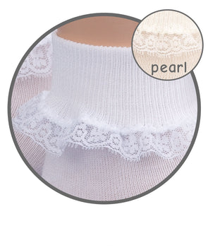 Jefferies White Sock w/Lace 2171