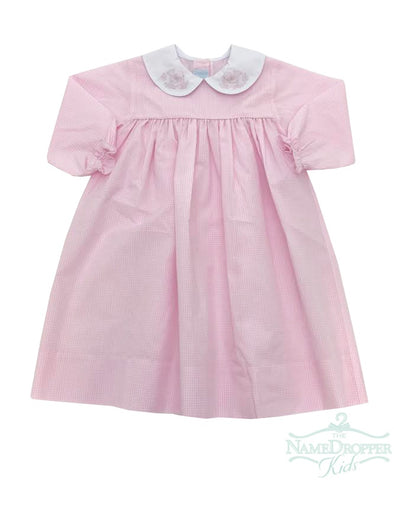 Auraluz Pink Check Dress W/Bird Shadow Embroidery on Collar 2732