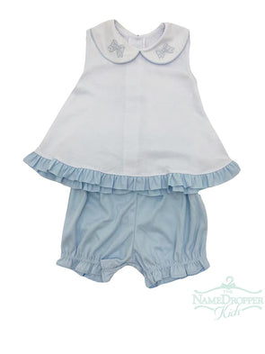 Auraluz Girl 2pc Sleeveless Double Knit Set White w/Blue 6815-BWRIB