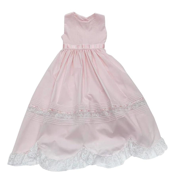 Treasured Memories Pink Sleeveless Dress w/ Pink Ribbon Insertion, Tie Back, & White Lace 1910 PK/WH