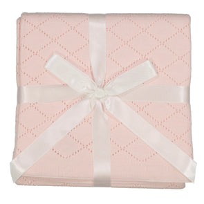 Feltman Brothers Diamond Pointelle Knit Blanket Pink 402