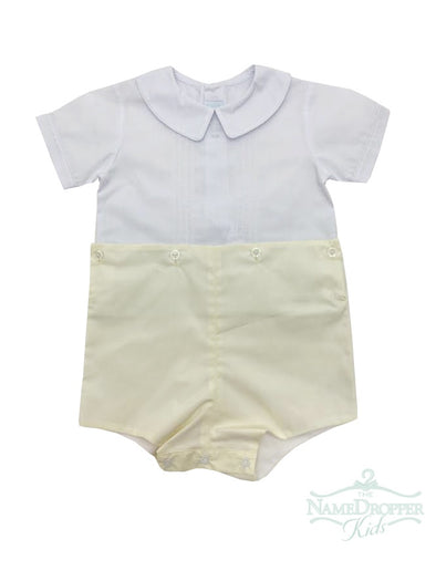 Auraluz 769B-YW100 Yellow/White W/tucks Boy Suit