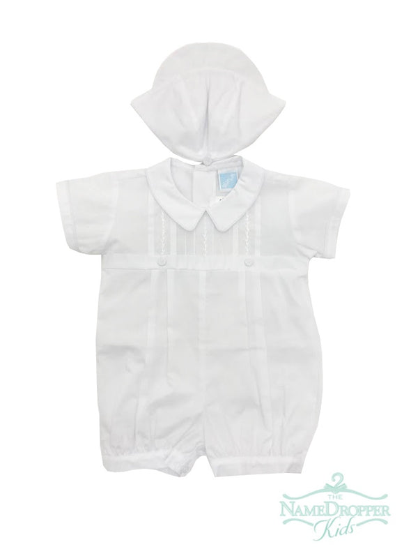 Will beth Boys Romper W/ Hat White 77633