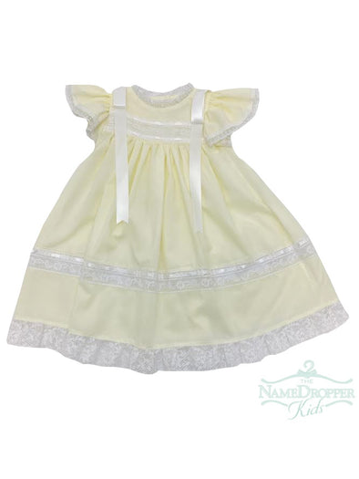 Treasured Memories Yellow Dress With White Lace and White Ribbon S1823