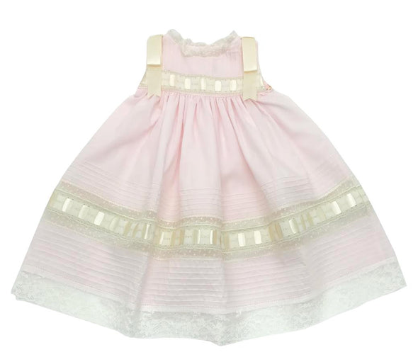Treasured Memories Pink Sleeveless Dress w/ Ecru Lace & Shoulder Ribbons S1018 Pk/Ec/Ec