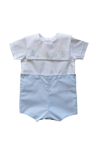 Auraluz Boy Suit W/Binding Trim Blue/White 5004BWBWT