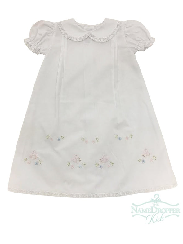Auraluz Long Daygown White/Pink Butterflies 3020GWPBUT