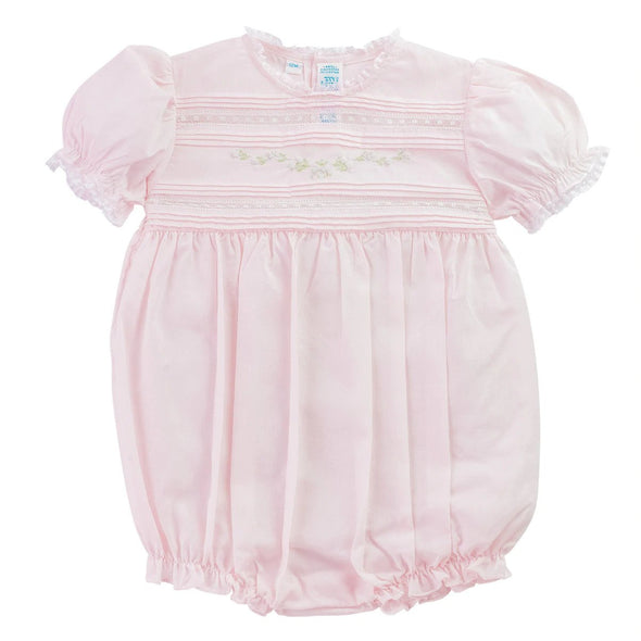 Feltman Brothers 770 Pink Floral Bullions and Lace Trim Romper