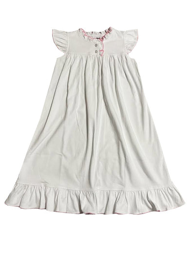 True Morning Dress White/Pink Picot 6757
