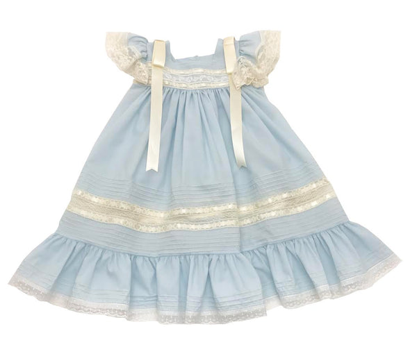 Treasured Memories Blue Dress w/ Angel Wing Sleeves, Ecru Lace & Thick Satin Ribbon 1632S BL/EC/EC