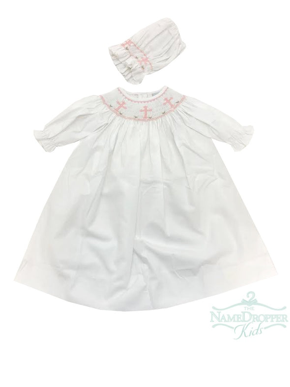 Delaney Pink Cross LS Smocked Daygown and Bonnet L17