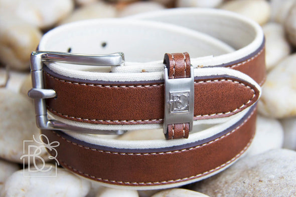 Beyond Creations Antique White & Light Brown Double Leather Belt