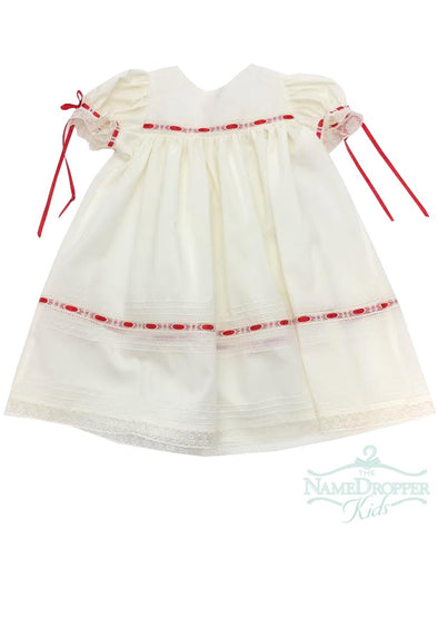 Treasured Memories Ecru Dress W/Red Ribbon and Ecru Lace F1981