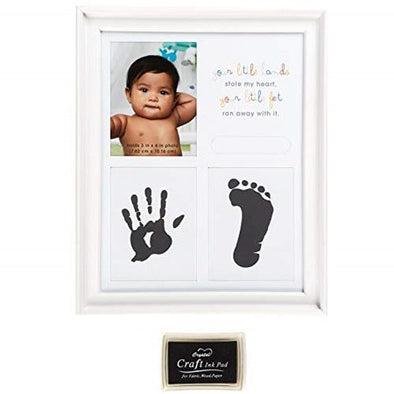 ''Your Little Hands Stole My Heart and Your Little Feet Ran Away with It'' Foot and Hand Print Baby Frame