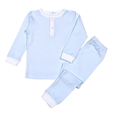 Baby Bliss Blue Gingham 2 pc Pima Loungewear Snug Fit BGP-099